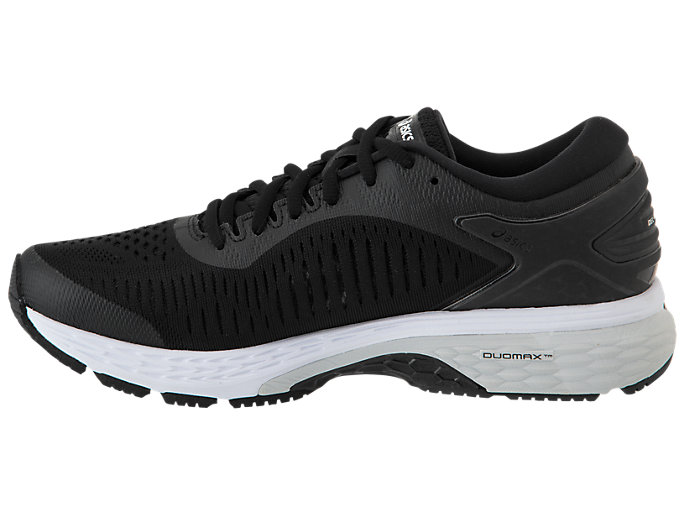 Left side view of GEL-KAYANO 25, BLACK/GLACIER GREY