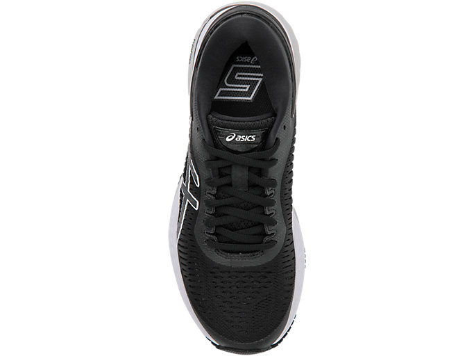 Top view of GEL-KAYANO 25, BLACK/GLACIER GREY