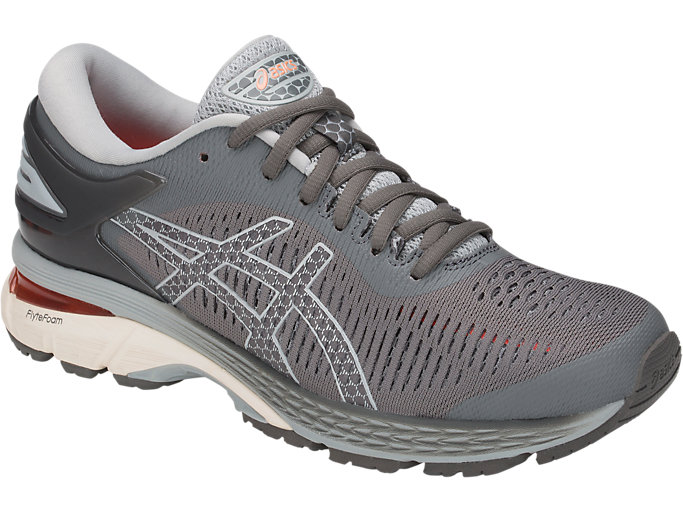 Front Right view of GEL-KAYANO 25, CARBON/MID GREY