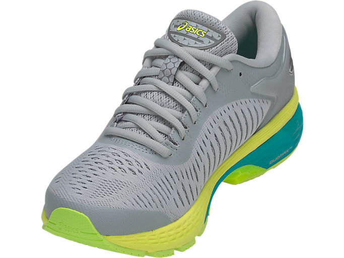 Front Left view of GEL-KAYANO 25, MID GREY/CARBON
