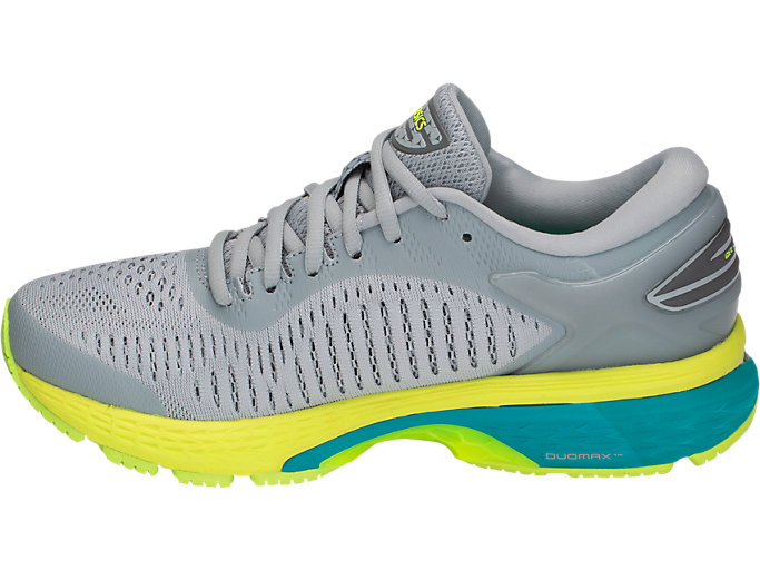 Left side view of GEL-KAYANO 25, MID GREY/CARBON