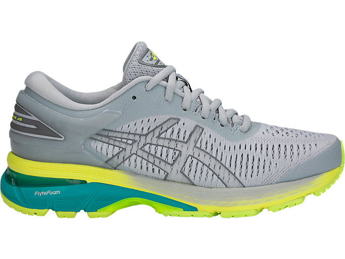 Right side view of GEL-KAYANO 25, MID GREY/CARBON