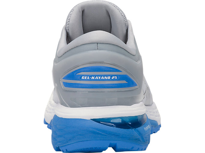 Back view of GEL-KAYANO 25, MID GREY/BLUE COAST