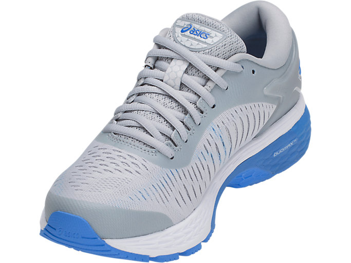 Front Left view of GEL-KAYANO 25, MID GREY/BLUE COAST