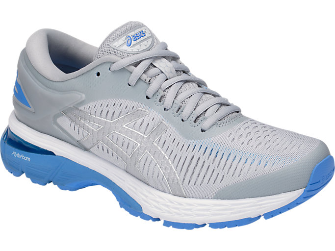 Front Right view of GEL-KAYANO 25, MID GREY/BLUE COAST