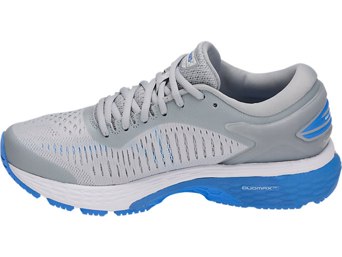 Left side view of GEL-KAYANO 25, MID GREY/BLUE COAST