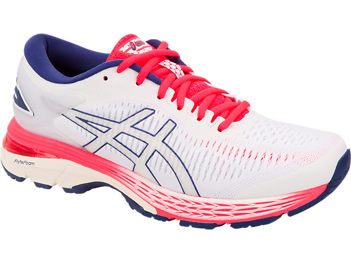 Front Right view of GEL-KAYANO 25, WHITE/WHITE