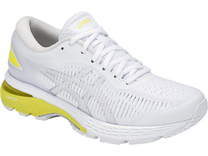 Front Right view of GEL-KAYANO 25, WHITE/LEMON SPARK