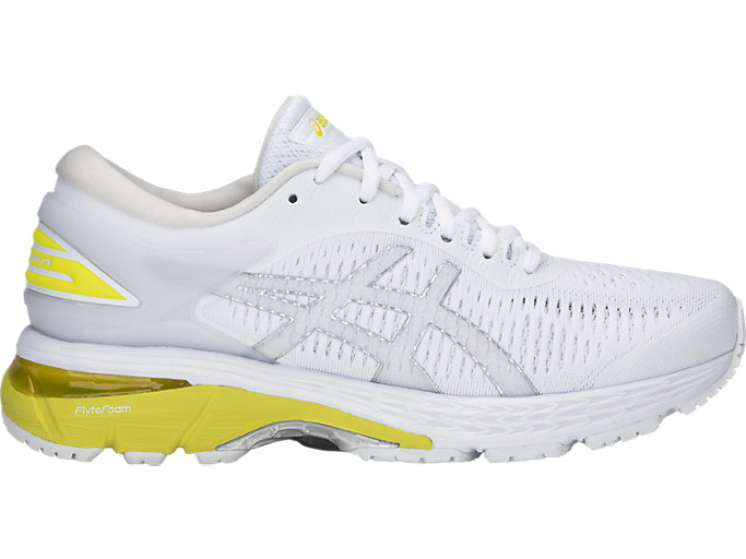 Right side view of GEL-KAYANO 25, WHITE/LEMON SPARK