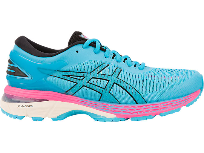 Right side view of GEL-KAYANO 25, AQUARIUM/BLACK