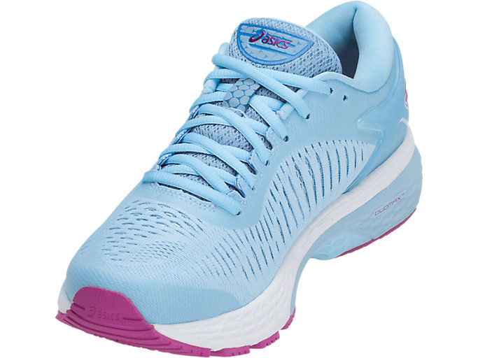 Front Left view of GEL-KAYANO 25, SKYLIGHT/ILLUSION BLUE