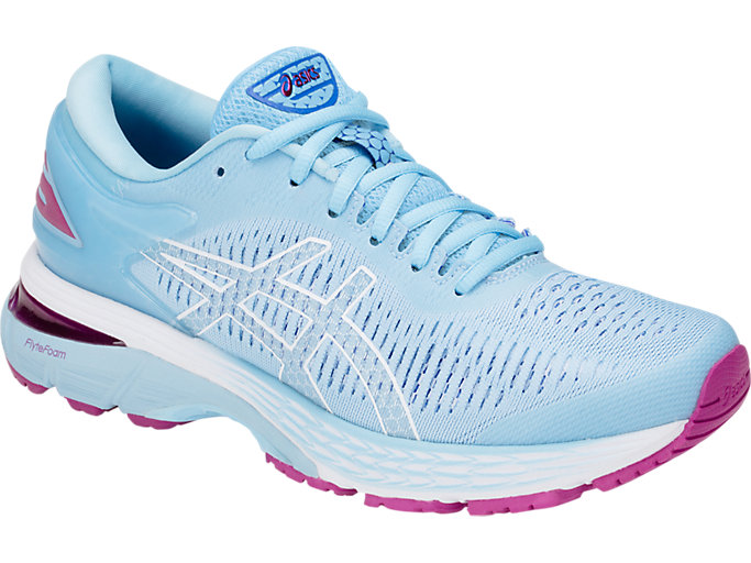 Front Right view of GEL-KAYANO 25, SKYLIGHT/ILLUSION BLUE