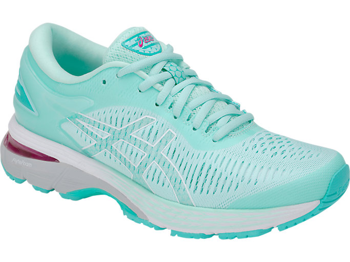 Front Right view of GEL-KAYANO 25, ICY MORNING/SEA GLASS