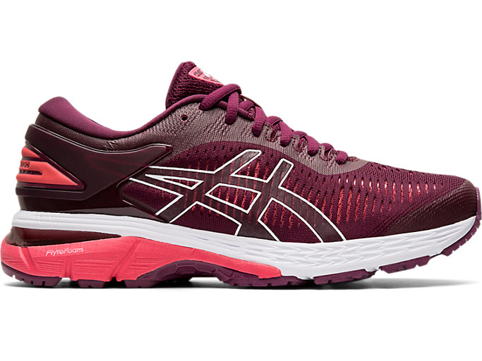 Right side view of GEL-KAYANO 25, ROSELLE/PINK CAMEO