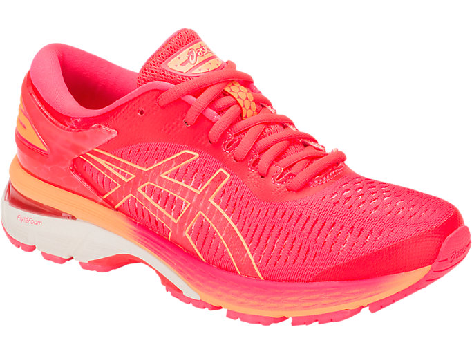 Front Right view of GEL-KAYANO 25, DIVA PINK/MOJAVE