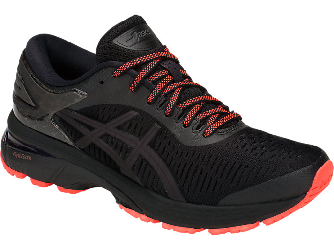 Front Right view of GEL-KAYANO 25 LITE-SHOW, BLACK/BLACK