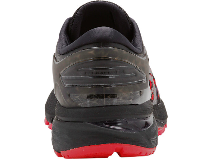 Back view of GEL-KAYANO 25 BERLIN, BLACK/CLASSIC RED