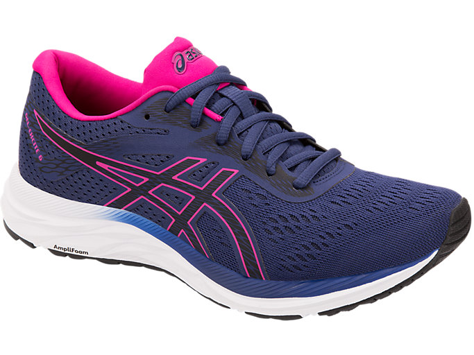 Front Right view of GEL-EXCITE™ 6, INDIGO BLUE/PINK RAVE