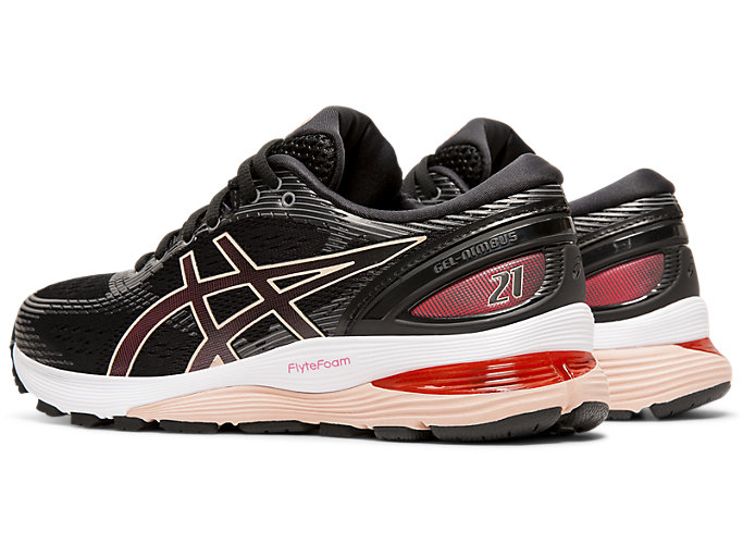 Front Left view of GEL-NIMBUS 21, BLACK/LASER PINK