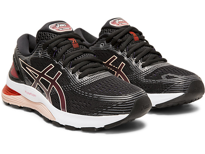 Front Right view of GEL-NIMBUS 21, BLACK/LASER PINK