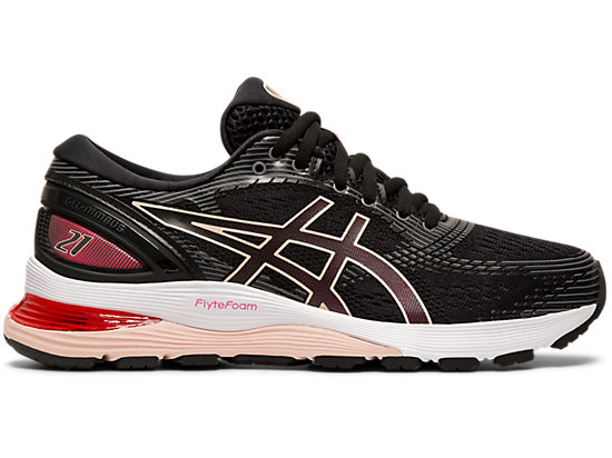 Asics Gel Nimbus 21 Women's Running Shoe Black, Laser Pink 1012A156 002