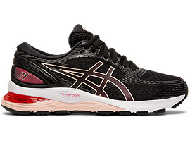 Right side view of GEL-NIMBUS 21, BLACK/LASER PINK