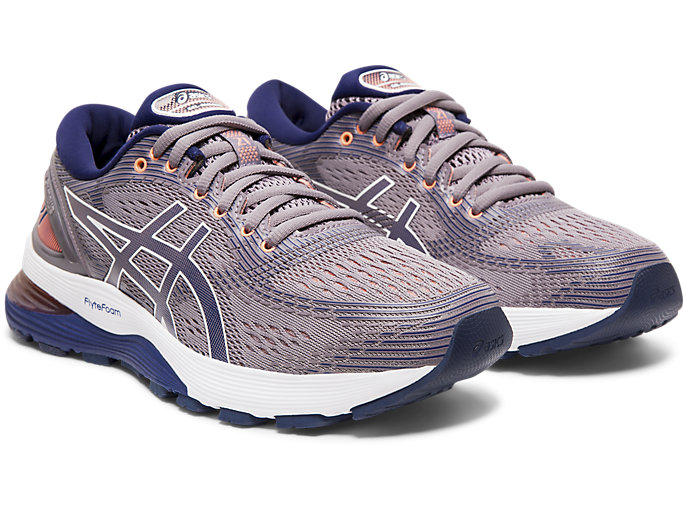 Front Right view of GEL-NIMBUS™ 21, LAVENDER GREY/DIVE BLUE