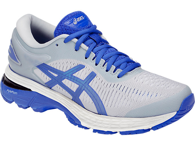 Front Right view of GEL-KAYANO 25 LITE-SHOW, MID GREY/ILLUSION BLUE