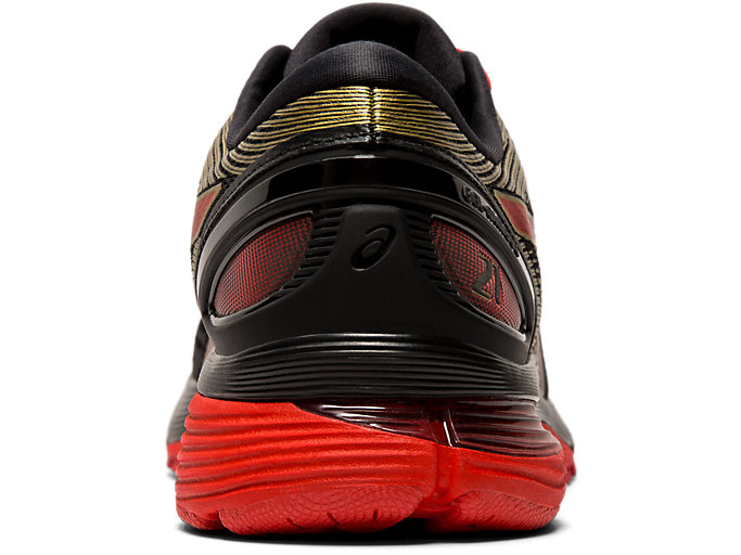 Back view of GEL-NIMBUS 21 MUGEN, BLACK/CLASSIC RED