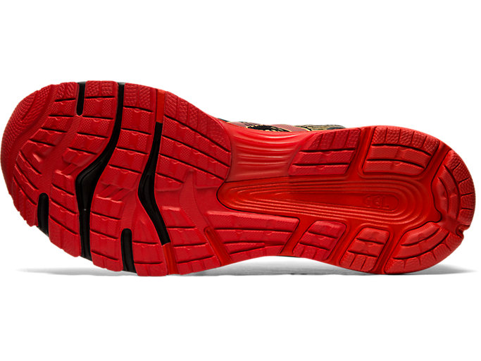 Bottom view of GEL-NIMBUS 21 MUGEN, BLACK/CLASSIC RED