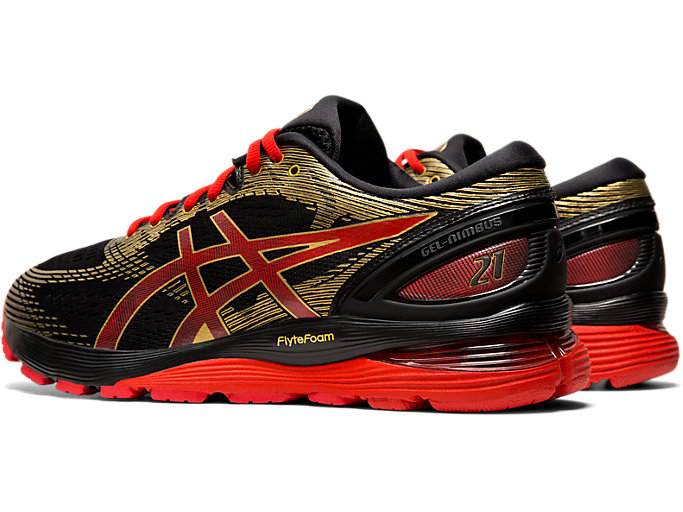 Front Left view of GEL-NIMBUS 21 MUGEN, BLACK/CLASSIC RED