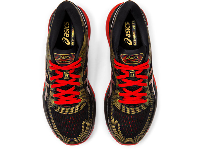 Top view of GEL-NIMBUS 21 MUGEN, BLACK/CLASSIC RED