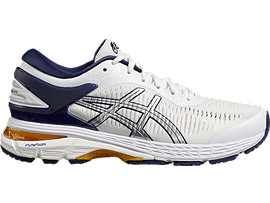 Right side view of Naked x ASICS GEL-KAYANO 25, WHITE/PEACOAT