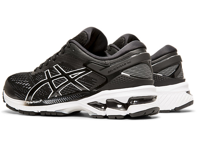 Front Left view of GEL-KAYANO™ 26, BLACK/WHITE