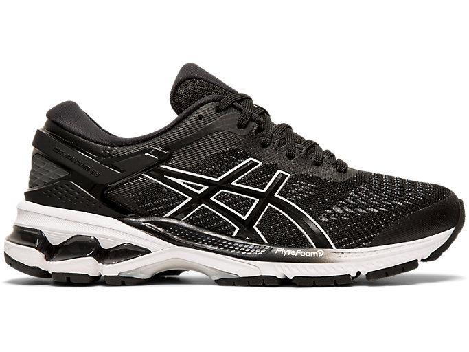 Right side view of GEL-KAYANO 26, BLACK/WHITE