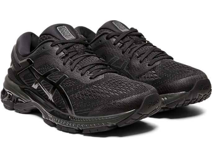 Front Right view of GEL-KAYANO™ 26, BLACK/BLACK