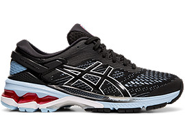 Right side view of GEL-KAYANO 26, BLACK/HERITAGE BLUE