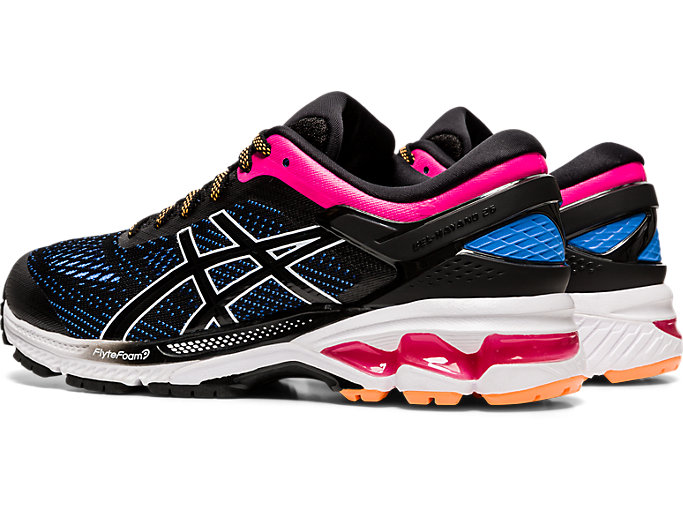 Front Left view of GEL-KAYANO 26, BLACK/BLUE COAST