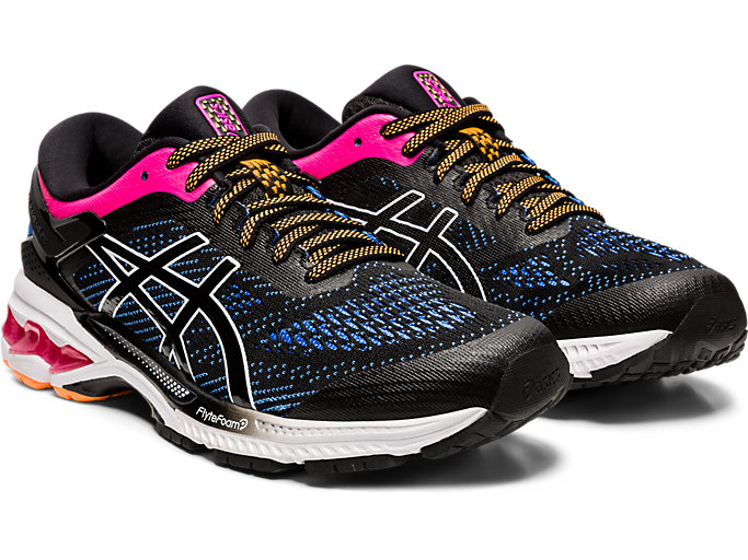 Front Right view of GEL-KAYANO 26, BLACK/BLUE COAST