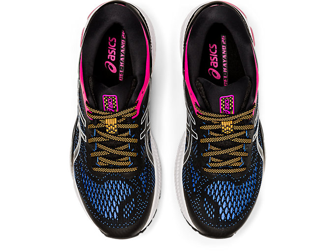 Top view of GEL-KAYANO 26, BLACK/BLUE COAST