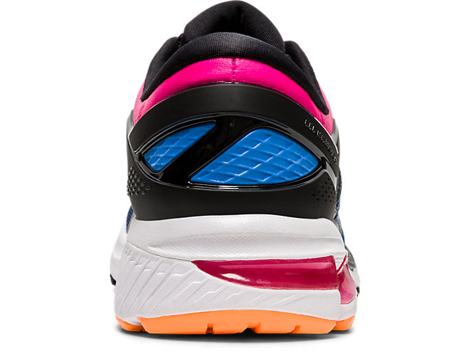 Back view of GEL-KAYANO 26, BLACK/BLUE COAST