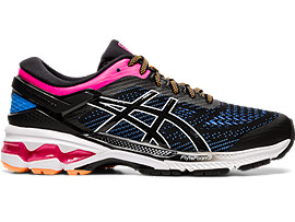 Right side view of GEL-KAYANO 26, BLACK/BLUE COAST
