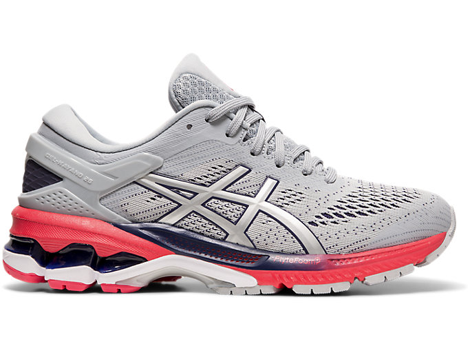 Right side view of GEL-KAYANO 26, PIEDMONT GREY/SILVER