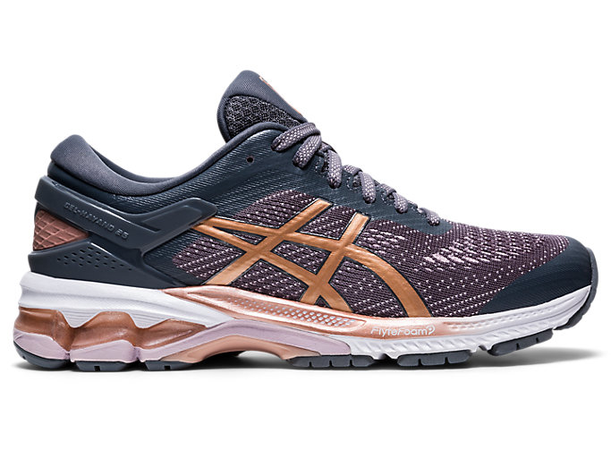 Right side view of GEL-KAYANO™ 26, METROPOLIS/ROSE GOLD