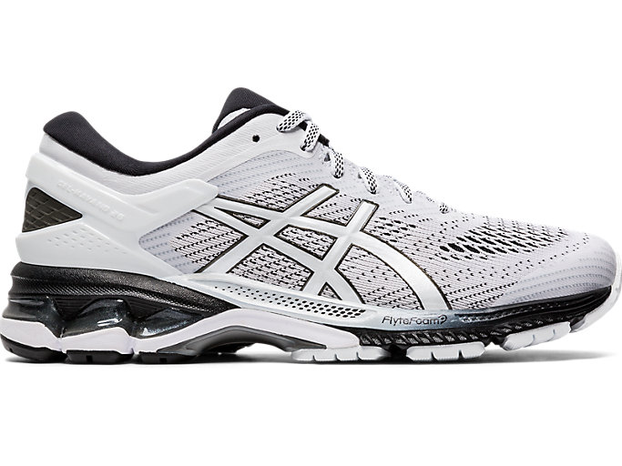 Right side view of GEL-KAYANO™ 26, WHITE/BLACK