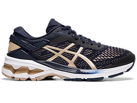 Right side view of GEL-KAYANO™ 26, MIDNIGHT/FROSTED ALMOND