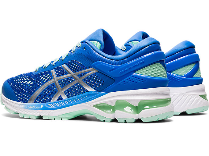 Front Left view of GEL-KAYANO 26, BLUE COAST/PURE SILVER