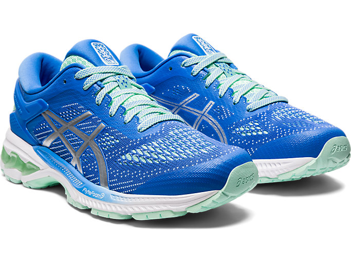 Front Right view of GEL-KAYANO 26, BLUE COAST/PURE SILVER
