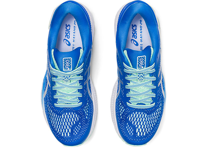 Top view of GEL-KAYANO 26, BLUE COAST/PURE SILVER