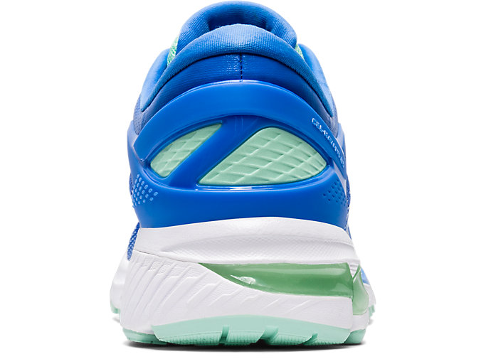 Back view of GEL-KAYANO 26, BLUE COAST/PURE SILVER